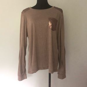 Umgee Tops - NWT Umgee Bronze Sequin Long Sleeve Shirt size L